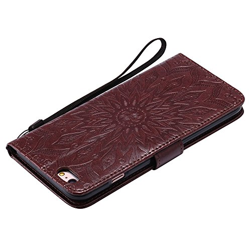 JIALUN-étui pour téléphone Pour Apple IPhone 6 et 6s Plus Case, avec lanière, slot pour carte, support, boucle magnétique Sun Flower Flat Open Phone Shell ( Color : Brown ) Brown