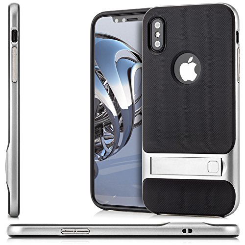 Coque iPhone X Housse de Protection [Saxonia] Silicone Case Hybride TPU Slim Cover + Coque Bumper [Anti Choc] avec Stand Rose Argent