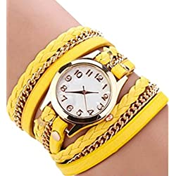 PromiseU Women Synthetic Leather Strap Watch-Yellow