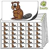480 x Aufkleber - Biber (38 x 21 mm). Hochwertige selbstklebende Etiketten mit Tiermotiv von Zooify.