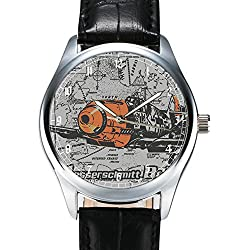 Messerschmitt Bf109 Luftwaffe Commemorative WW-II Aviation Art Collectible Wrist Watch