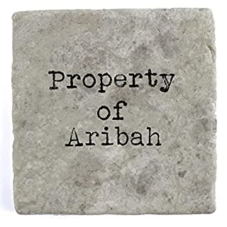 Property of Ariba - Set of Four Marble Tile Drink Coasters