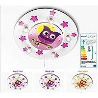 KIDSLICHT Kinderzimmerlampe Led Schlummerlicht Eule m. Mond 039-2-WPi Kinderlampe Babylampe Lampe Babyzimmer Leuchte