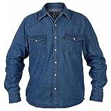 Duke - Linea Kingsize - Western - Camicia in jeans - Uomo (XXXL) (Blu )