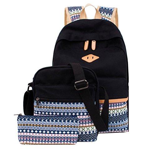 Schulrucksack Canvas Mädchen/Damen Schul Rucksack Set, Schulranzen + Schultertasche / Messenger Bag + Purse Große 3PCS (Canvas-futter)