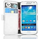 Galaxy S4 Mini Hülle, JAMMYLIZARD Luxuriöse Flip Cover Ledertasche mit Kartenfach für Samsung Galaxy S4 Mini, CHAMPAGNER WEIß