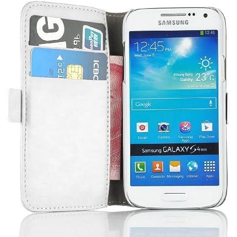JAMMYLIZARD Funda De Piel Para Samsung Galaxy S4 MINI Luxury Wallet Tipo Cartera, BLANCO
