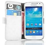 Samsung Galaxy S4 Mini Lederhülle | JAMMYLIZARD Handyhülle [ Luxuriöse Series ] Ledertasche Flip Case Cover Hülle Leder Schutzhülle mit Kartenfach, Champagner Weiß