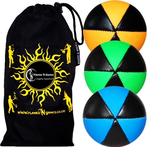 UV Juggling Balls set of 3  ASTRIX  6 Panel Leather Pro Juggling Ball Set   Travel Bag   Orange Green Blue