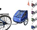 PAPILIOSHOP EAGLE Rimorchio carrellino per il trasporto di 1 o 2 uno due bambino bambini la bici bicicletta portabimbo bimbo bimbi portabimbi carrello pieghevole da con x porta rimorchietto carretto (Jeans)