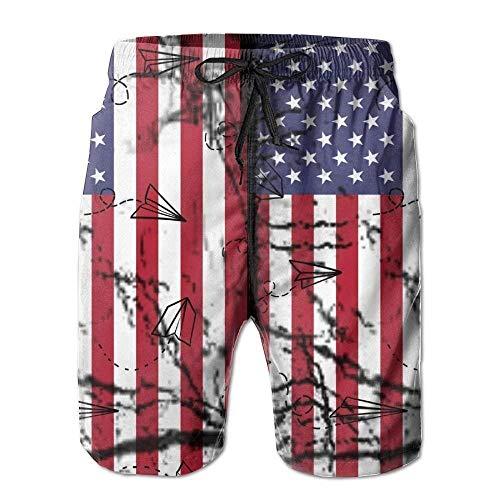 kslae Vintage Vereinigte Staaten von Amerika Flagge USA Flagge Herren Strand Shorts Strand Board Shorts Quick Dry Badeshorts (3x Herren Schwimmen Shorts)