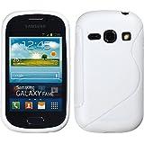 PhoneNatic Case für Samsung Galaxy Fame Hülle Silikon weiß S-Style Cover Galaxy Fame Tasche + 2 Schutzfolien