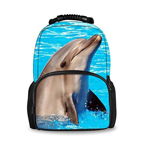 Farbenfrohe 3D Tiere Zoo Rucksäcke für Kinder Schule Buch Taschen Delfin Large(17.3