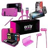 ORZLY® Ultimate Pack Accesorios para Nintendo Switch [Incluye: Protectores de Pantalla, Cable USB, Funda para Consola, Estuche Tarjetas de Juego, FlexiCase para los mandos JoyCon, Auriculares] – Rosa
