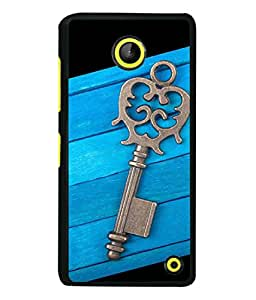 FIOBS Key In Blue Wooden Pattern Designer Back Case Cover for Microsoft Lumia 630