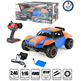 Remote Control 4 Wheel Drive Rock Crawler Off Road High Speed Racing Orange Car For Kids By Wishkey | 1:16 Scale 5 Channel 2.4 Ghz Radio Control Car For Boys And Girls | Multifunctional Rechargeable Monster Truck Toy With Charger For 8+ Years Childrens