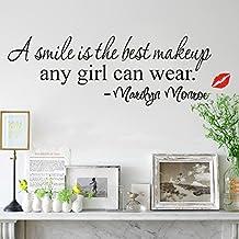 Zooarts Smile mejor maquillaje belleza de niña Cita Pared Adhesivo Vinilo Mural Decor DIY