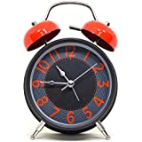 Efinito Gifts Steel Twin Bell Table Alarm Clock with Night Led Display - 7 inches (e-1, Multicolour)