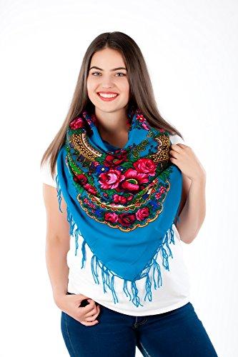 Grand chiffon de style écharpe avec joli motif Slave folklore hiver 2016 Bleu - Bleu clair