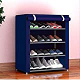 PYXBE Multipurpose Portable Folding Shoes Rack 4 Tiers Multi-Purpose Shoe Storage Organizer Cabinet Tower with Iron and Nonwoven Fabric with Zippered Dustproof Cover (4_Navy Blue)(Shoes Rack for Home)