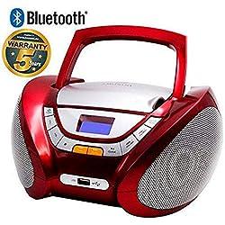 Lauson - CP449 - Lecteur Radio CD Portable avec Port USB / Mp3, Bluetooth Rouge