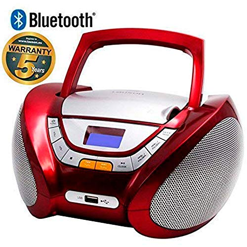 Lauson Radio CD Portatile Bluetooth | USB | Lettore Cd Bambini | Stereo Radio FM | Boombox | CD/MP3 Player | AUX IN | LCD-Display | CP449 (Rosso)