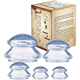 Vaccum Cups Massage Suction Cups Vacuum Cup Cellulite Silicone Massager Cupping Therapy for Muscle Soreness Pain Relief Pack of 5,Transparent