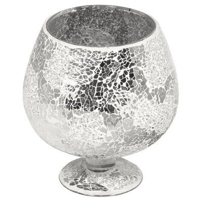 Mirrored Mosaic Glass Hurricane Vase, Silver, Small