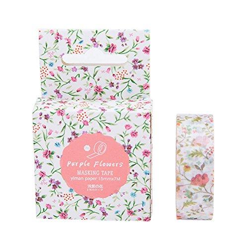 sukisuki Creative Watercolor Papier Washi Tape DIY Album Tagebuch Dekorative Scrapbook Stickers Einheitsgröße 10# Pink Floral Gold Trim