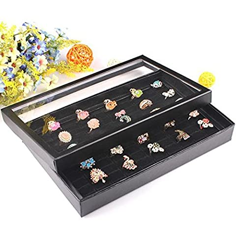 GOZAR Black 100 Slots Rings Holder Box Tray Show Case Jewelry Display