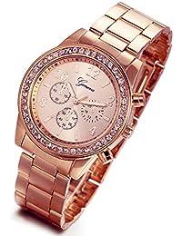 7fd4d6a5bcf2 Lancardo Reloj Analógico Lujoso con Bisel de Diamantes Artificiales  Brillantes Pulsera Electrónico Comercial de Cuarzo Original