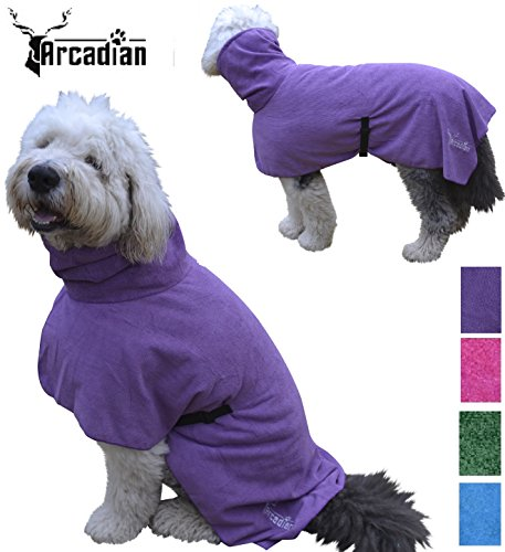 Arcadian Dog Bathrobes. Perfect Microfibre Towelling Robe for Drying Coats