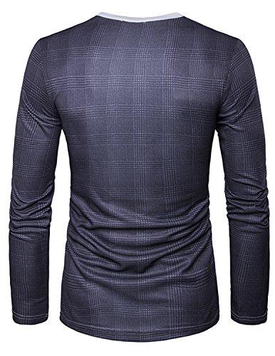 YCHENG Männer Anzug Mode 3D Druck Muster Slim Fit Langarm Rundhalsausschnitt T-Shirt Tops 1102L-L