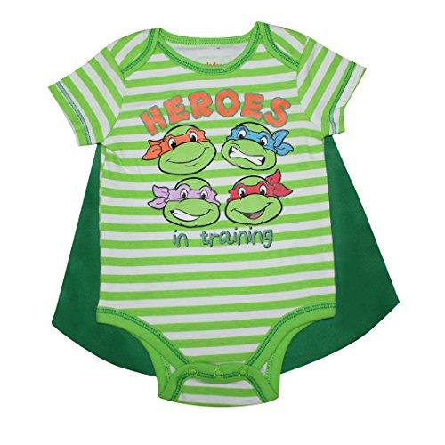 2 PCS SET Teenage Mutant Ninja Turtles Baby Jungs Einteiliger Spielanzug mit abnehmbarem Kap 6-9M Multicolor (Ninja Turtle Kleinkind)