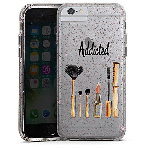 Apple iPhone 6 Bumper Hülle Bumper Case Glitzer Hülle Make Up Kosmetik Lippenstift Bumper Case Glitzer rose gold