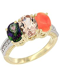 14 ct Gelb Gold Natural Mystic Topaz, Morganit & Coral Ring Ehering 7 x 5 mm Oval Diamant Accent, Größe M