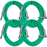 Seismic Audio SAGC10R-Green-4Pack 10-Feet, 4 Pack TS 1/4-Inch to 1/4-Inch Right Angle TS Guitar Cables, Green