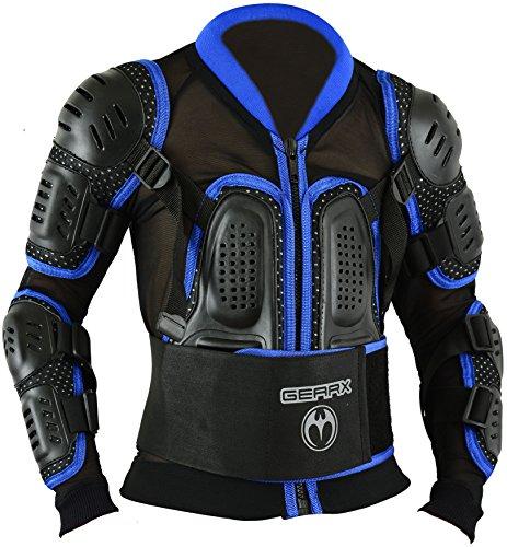 Kinder Motocross Rüstung Rücken Motorrad Schutz Jacke - Blau, M