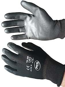 Warrior NB10 PU Coated Nylon Work Gloves, Black, Size : 10/ XL, Set of 12