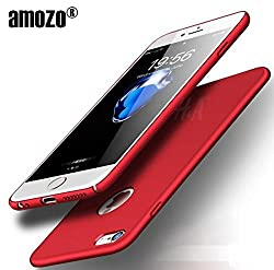Amozo All Sides Full Protection 360 Degree Sleek Rubberised Matte Hard Case Back Cover For Apple iPhone 6 (Red)