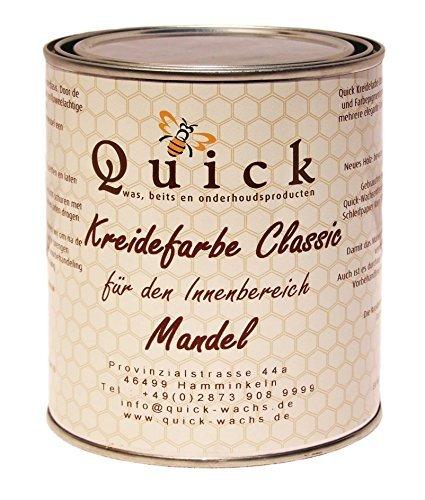 Preisvergleich Produktbild Quick Kreidefarbe Classic für Shabby Chic und Landhaus Stil Antiklook Möbelfarbe Farbe (Mandel,  1 Liter)