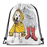 Jiuerlius4 Drawstring Backpacks Bags for Gym Home Travel Exercise labrador retriever yellow raincoat gumboots spring greeting card cute dog daffodil flower i