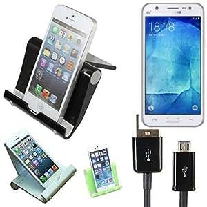 Support universel Dock de bureau pour Samsung Galaxy J5, noir, + câble   Multi-angle smartphones Fold-Up Station d'accueil Cradle titulaire - K-S-Trade (TM)