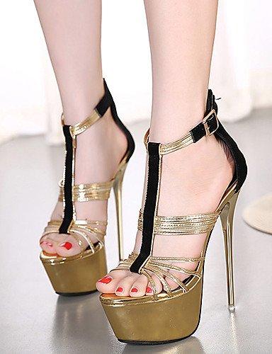 LFNLYX Chaussures Femme-Habillé / Soirée & Evénement-Or-Talon Aiguille-Talons / A Plateau / Bout Ouvert-Sandales-Laine synthétique golden
