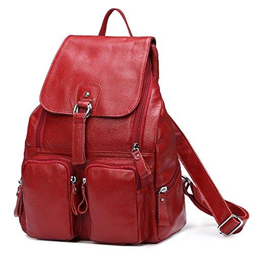 DRF Damen Rucksack aus Leder Daypack für Freizeit 28x38x12 cm #BG-120 (Rot)