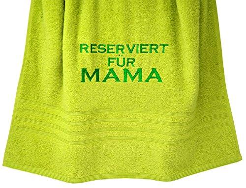"""Lashuma Geschenk für Mama: Handtuch bestickt """"Reserviert für Mama"""" 70 x 140 cm in Kiwi Grün (Oma-baby-dusche)"""