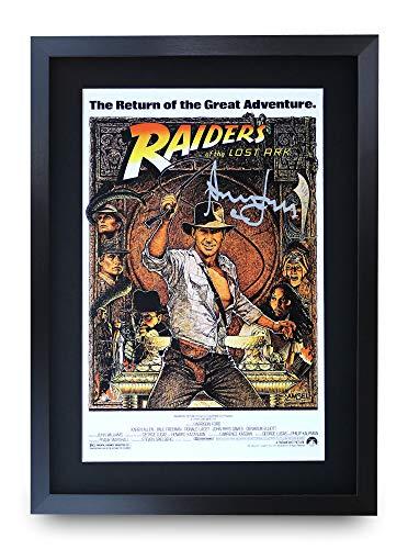 HWC Trading Indiana Jones Raiders of The Lost Ark A3 Gerahmte Signiert Gedruckt Autogramme Bild Druck-Fotoanzeige Geschenk Für Harrison Ford Filmfans -