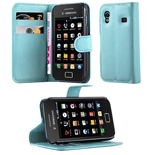 Cadorabo Custodia Libro per Samsung Galaxy Ace 1 in Celeste Blu - con Vani di Carte, Funzione Stand e Chiusura Magnetica - Portafoglio Cover Case Wallet Book Etui Protezione