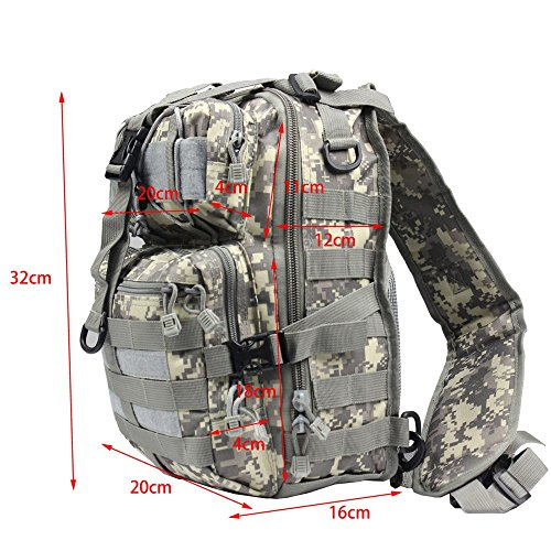 Airsson Tactical Military Schulter Sling Tasche Brustpack Tasche Rucksack Molle Large Wasserdichte Daypack für Outdoor Travel Camping Wandern Trekking ACU