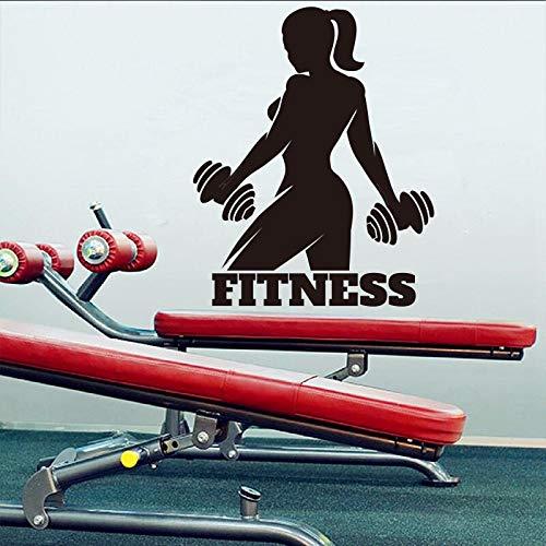Fitness Mädchen Wandaufkleber Bodybuilder Sport Wandtattoo für Dekoration Raum Gym Decor Abnehmbare Vinyl Kunst Wandbilder 58X46CM